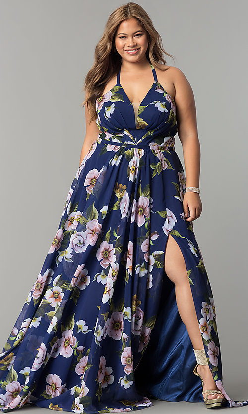 Image plus-size Faviana floral-print prom dress. Style: FA-9431 Detail Image 6