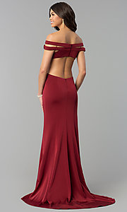 Image of red open-back off-the-shoulder long prom dress. Style: BL-PG3157 Back Image