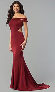 Image of red open-back off-the-shoulder long prom dress. Style: BL-PG3157 Detail Image 3