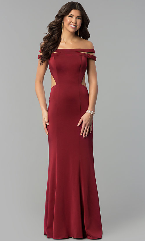 Image of red open-back off-the-shoulder long prom dress. Style: BL-PG3157 Front Image