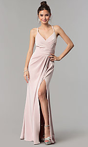 Image of mock-wrap open-back long prom dress by Blush. Style: BL-PG3167 Detail Image 2