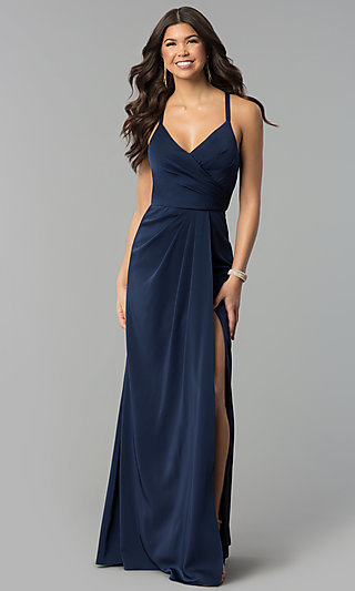 Mock-Wrap Open-Back Long Prom Dress by Blush