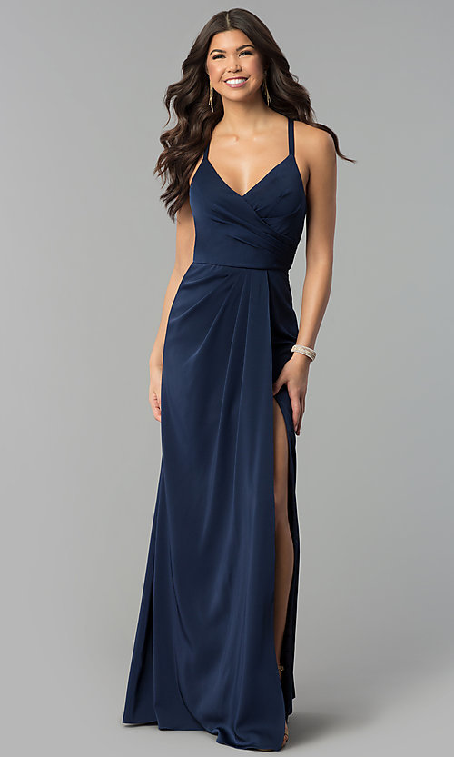Image of mock-wrap open-back long prom dress by Blush. Style: BL-PG3167 Front Image