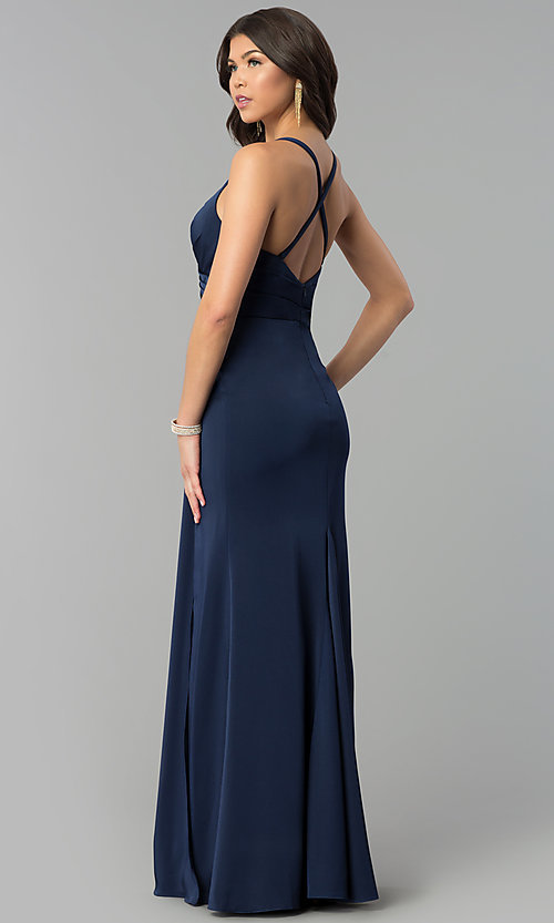 Image of mock-wrap open-back long prom dress by Blush. Style: BL-PG3167 Back Image
