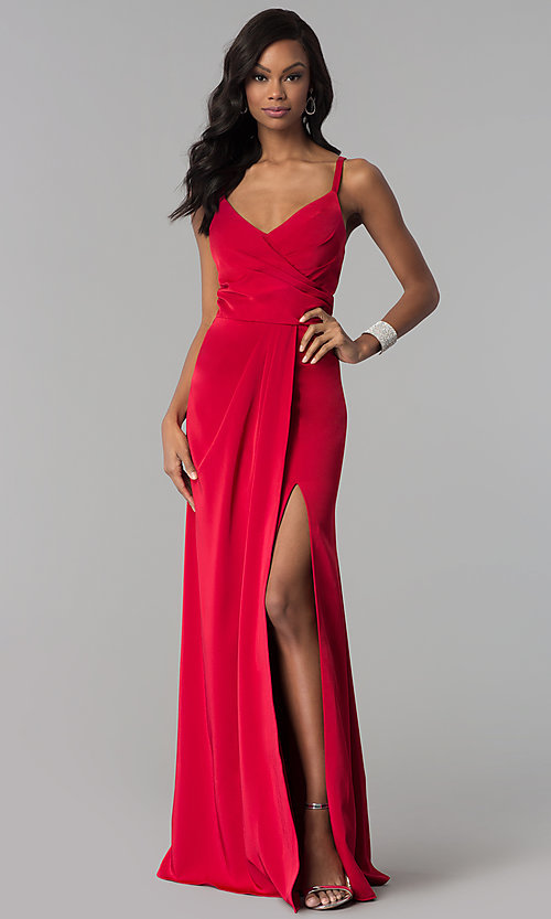 Image of mock-wrap open-back long prom dress by Blush. Style: BL-PG3167 Detail Image 3