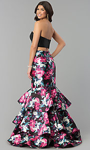 Image of long two-piece tiered mermaid prom dress. Style: BL-PG3175 Back Image