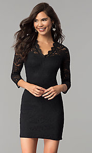 Image of three-quarter-sleeve lace party dress by As U Wish. Style: AS-A66334B76 Detail Image 2