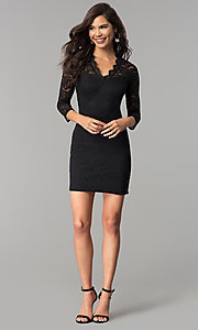Image of three-quarter-sleeve lace party dress by As U Wish. Style: AS-A66334B76 Detail Image 3