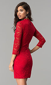 Image of three-quarter-sleeve lace party dress by As U Wish. Style: AS-A66334B76 Back Image