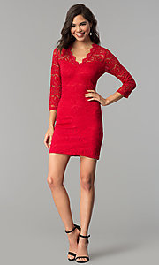 Image of three-quarter-sleeve lace party dress by As U Wish. Style: AS-A66334B76 Detail Image 1