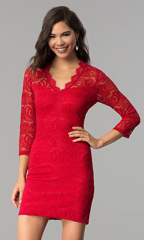 Image of three-quarter-sleeve lace party dress by As U Wish. Style: AS-A66334B76 Front Image