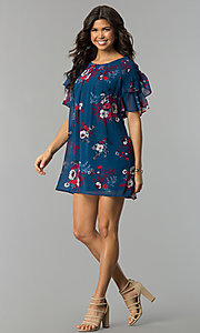 Image of flutter-sleeve short print wedding-guest dress. Style: AS-A839895b86 Detail Image 2