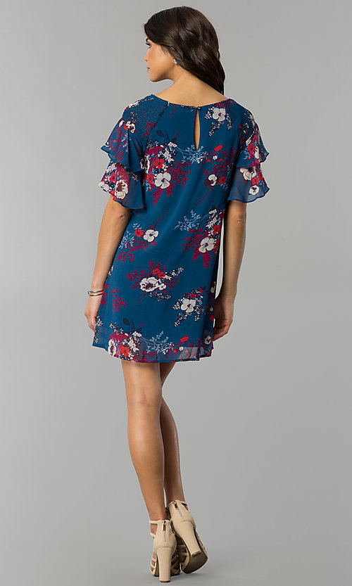 Image of flutter-sleeve short print wedding-guest dress. Style: AS-A839895b86 Detail Image 3