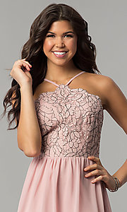 Image of mauve pink short party dress with lace bodice. Style: AS-A6565F337 Detail Image 1