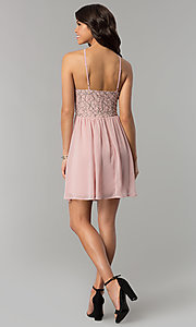 Image of mauve pink short party dress with lace bodice. Style: AS-A6565F337 Detail Image 3