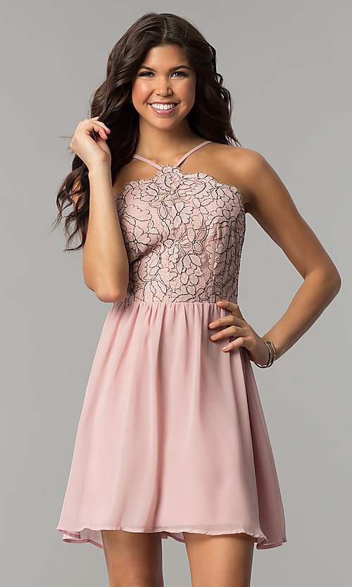 Image of mauve pink short party dress with lace bodice. Style: AS-A6565F337 Front Image