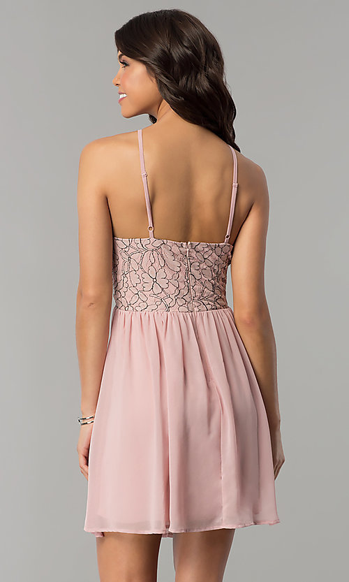 Image of mauve pink short party dress with lace bodice. Style: AS-A6565F337 Back Image