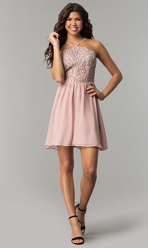 Image of mauve pink short party dress with lace bodice. Style: AS-A6565F337 Detail Image 2