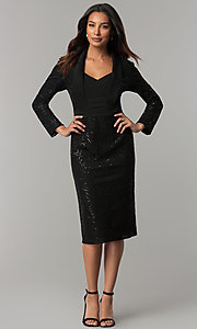 Image of long-sleeve sequin-lace knee-length black MOB dress. Style: IT-111167 Detail Image 2
