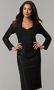 Image of long-sleeve sequin-lace knee-length black MOB dress. Style: IT-111167 Front Image