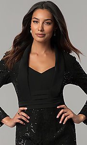 Image of long-sleeve sequin-lace knee-length black MOB dress. Style: IT-111167 Detail Image 1