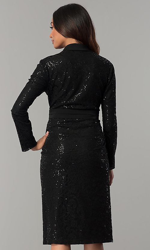 Image of long-sleeve sequin-lace knee-length black MOB dress. Style: IT-111167 Back Image
