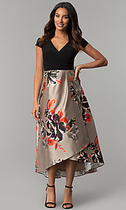 Image of short-sleeve party dress with print high-low skirt. Style: IT-117976 Front Image