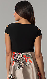 Image of short-sleeve party dress with print high-low skirt. Style: IT-117976 Detail Image 2