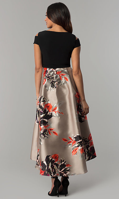 Image of short-sleeve party dress with print high-low skirt. Style: IT-117976 Back Image