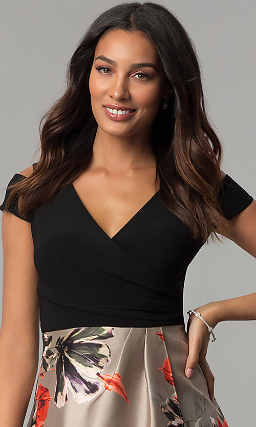 Image of short-sleeve party dress with print high-low skirt. Style: IT-117976 Detail Image 1