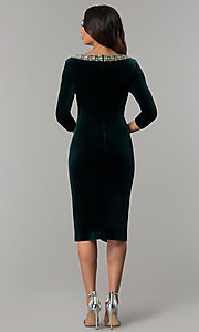 Image of knee-length hunter green velvet holiday party dress. Style: IT-110497 Back Image
