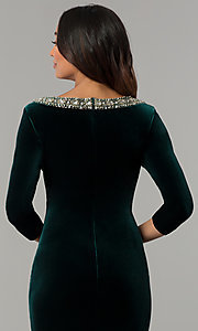 Image of knee-length hunter green velvet holiday party dress. Style: IT-110497 Detail Image 2