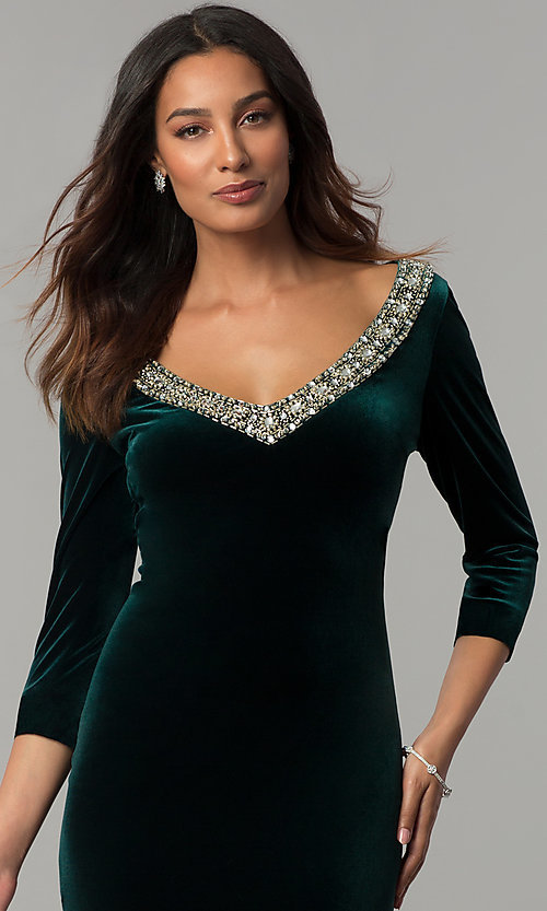 Image of knee-length hunter green velvet holiday party dress. Style: IT-110497 Detail Image 1