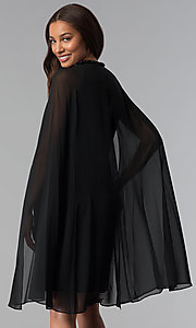 Image of beaded-neck short black wedding-guest dress with cape. Style: IT-111407 Back Image