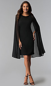 Image of beaded-neck short black wedding-guest dress with cape. Style: IT-111407 Detail Image 2