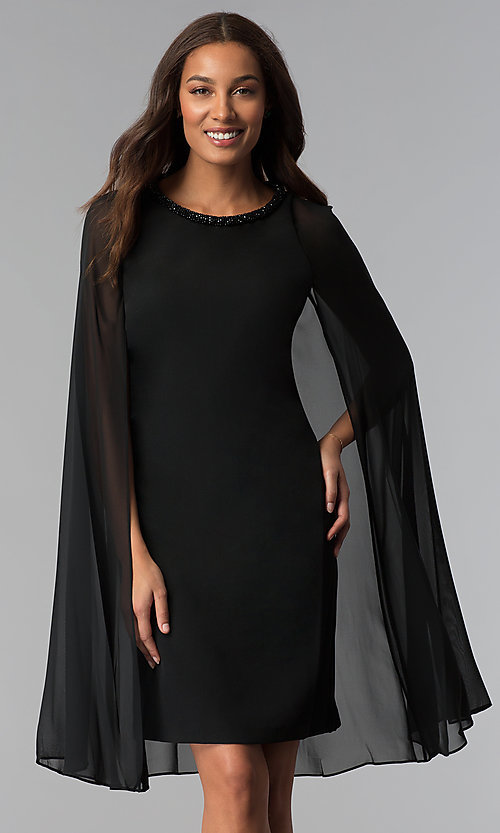 Image of beaded-neck short black wedding-guest dress with cape. Style: IT-111407 Front Image