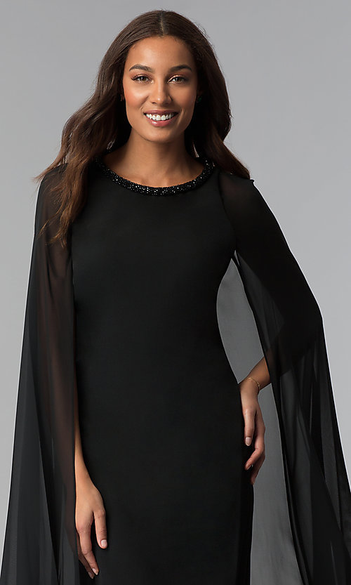 Image of beaded-neck short black wedding-guest dress with cape. Style: IT-111407 Detail Image 1