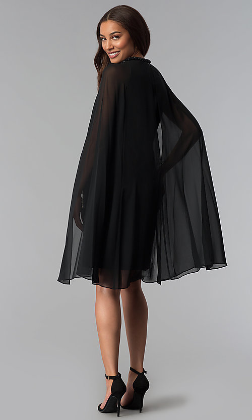 Image of beaded-neck short black wedding-guest dress with cape. Style: IT-111407 Detail Image 3