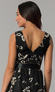 Image of embroidered tea-length black party dress with sash. Style: IT-111687 Detail Image 2