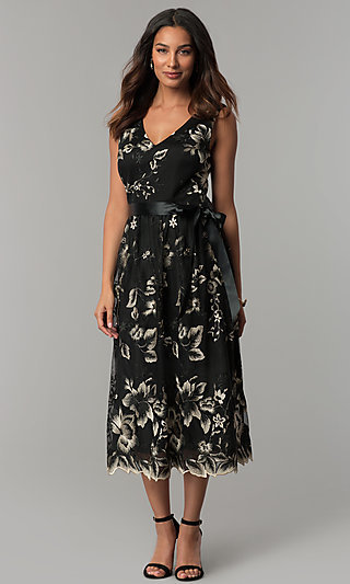 Embroidered Tea-Length Black Party Dress with Sash