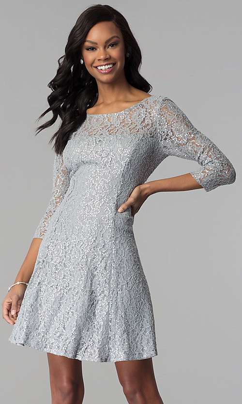 Image of semi-formal three-quarter-sleeve party dress. Style: IT-112145-S Front Image