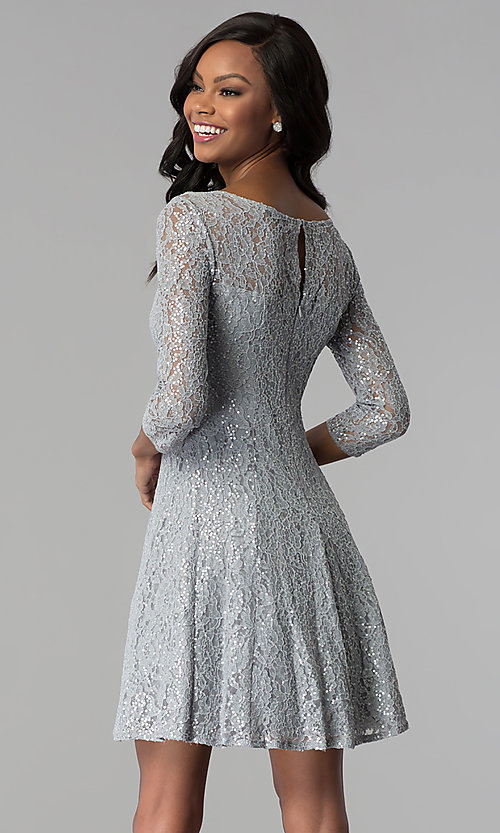 Image of semi-formal three-quarter-sleeve party dress. Style: IT-112145-S Back Image