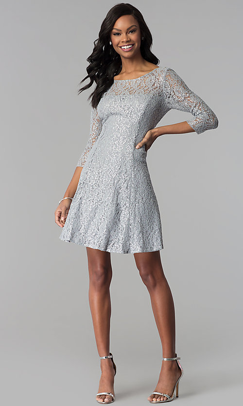 Image of semi-formal three-quarter-sleeve party dress. Style: IT-112145-S Detail Image 2