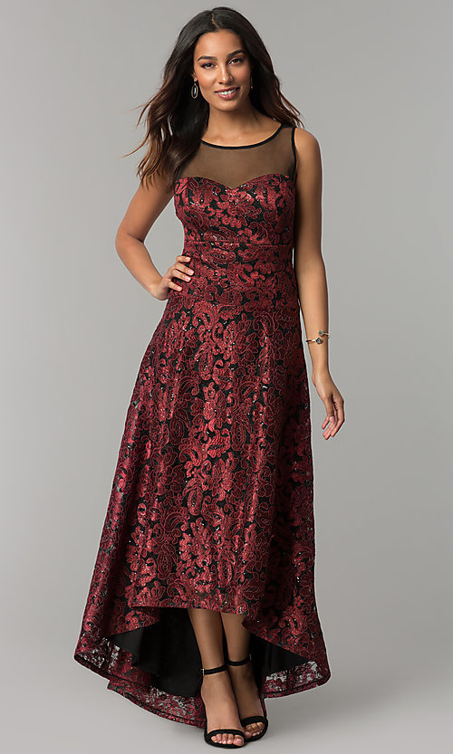 Image of illusion-sweetheart embroidered high-low party dress. Style: IT-3793 Front Image