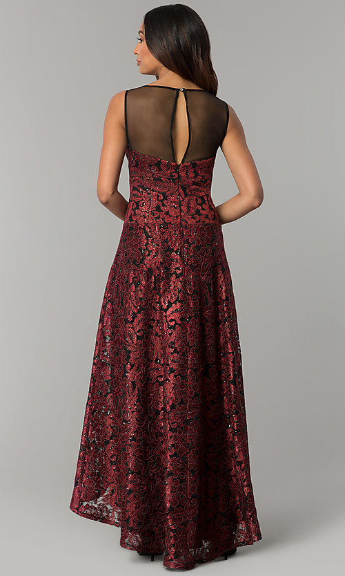 Image of illusion-sweetheart embroidered high-low party dress. Style: IT-3793 Back Image