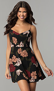 Image of tied-back short party dress with floral print. Style: RO-R67005-1 Front Image