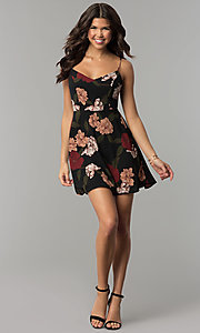 Image of tied-back short party dress with floral print. Style: RO-R67005-1 Detail Image 2
