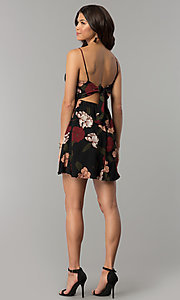 Image of tied-back short party dress with floral print. Style: RO-R67005-1 Detail Image 3