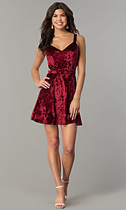 Image of v-neck short velvet wedding-guest dress with cut out. Style: RO-R67279 Detail Image 1
