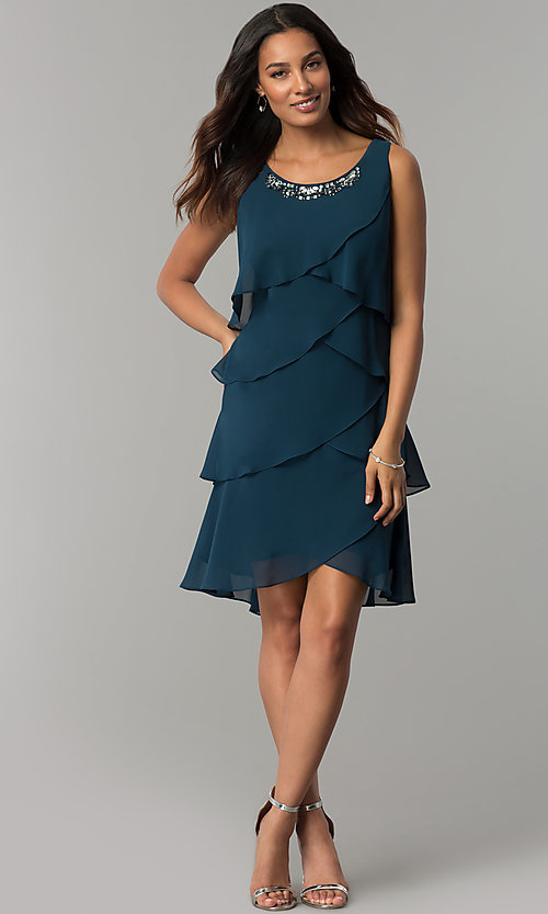 Image of short mother-of-the-bride party dress with capelet. Style: IT-SL112296 Detail Image 1